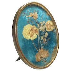 "Antique 19th C. Brass Frame Easel Back Pressed Flowers 4"" x 3"""