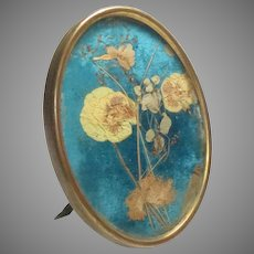 """Antique 19th C. Brass Frame Easel Back Pressed Flowers 4"""" x 3"""""""