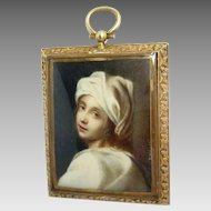 Antique Miniature Painting Bronze Frame Signed Tomassi