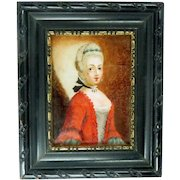 Antique Reverse Painting Glass Miniature 18th Century