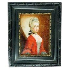 Antique Reverse Painting Glass Miniature 18th Century