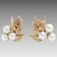 Vintage Earrings 14 Kt Yellow Gold Cultured Pearls Clip.
