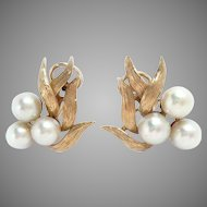 Vintage Earrings 14 Kt Yellow Gold Cultured Pearls Clip