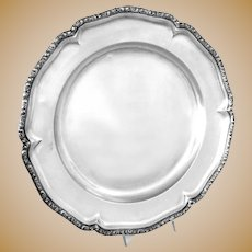 "Antique Silver Tray Austro-Hungarian Round 13.25"" diameter 930 grams"