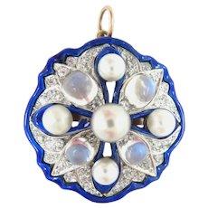 14 Kt Gold Pendant Enamel Diamond Pearl Moon Stone Antique Art Nouveau