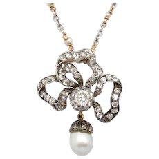Victorian Ribbon Bow Pendant 3.75 Ct Diamond 13 x 9 mm Pearl