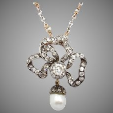 Victorian Ribbon Bow Pendant 3.75 Ct Diamond 13 x 9 mm Pearl