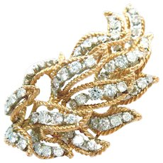 18 Kt Gold Pin Brooch Leaf 3 Ct Diamond Retro Vintage