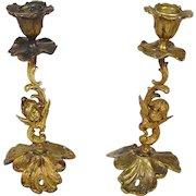 """Candlesticks Art Nouveau  Bronze GESCHUTZT Cherubs Angels Cupid Antique 8"""" H"""