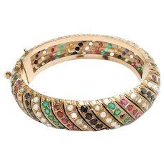 Vintage Bangle Bracelet 14k Gold Ruby Sapphire Diamond Pearls