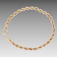 "14k Yellow Gold Bracelet. Rope Chain Vintage 7.5"" L 12 g"