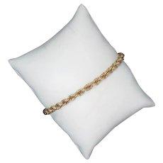"Vintage Bracelet 14k Yellow Gold Rope Chain 7.5"" L 12 g"