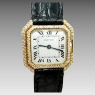 Vintage Cartier Ceinture 18K Gold Ladies Watch Diamonds