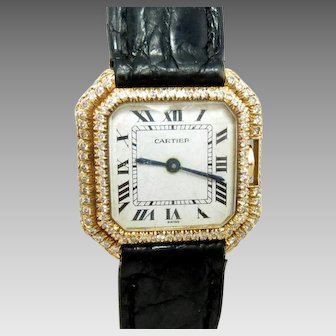 Vintage Cartier Ceinture 18K Gold Ladies Watch Diamonds