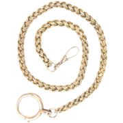 Antique 15 Kt Gold Braided Watch Chain or Necklace