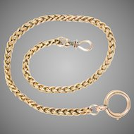 Antique 15 Kt Yellow Gold Braided Watch Chain or Necklace 45 g
