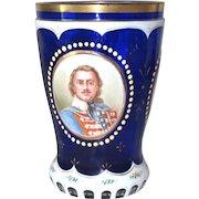 "Antique Bohemian Glass Biedermeier Painted Cobalt Blue 5"" H"