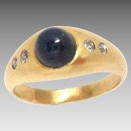 Vintage 18K Gold Gypsy Ring Sapphire Diamond