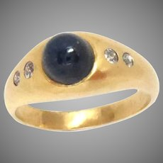 Vintage 18 Kt Gold Gypsy Ring Cabochon Sapphire Diamond