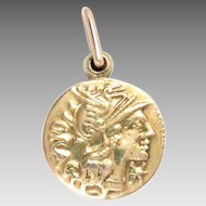 Vintage 14 Kt Yellow Gold Locket Roman Coin Roma Chariot