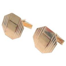 14 Kt Yellow Gold Cufflinks Vintage 1960s 9.5 grams
