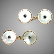 Vintage Cufflinks 14Kt. Rose Gold Double Sided Mother of Pearls Sapphires