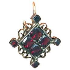 14 Kt Pink Gold Earrings Garnets Mid Century Geometric