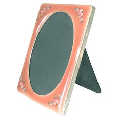 """1920s Picture Frame Silver Enamel Roses Periwinkles 4""""x 3"""""""