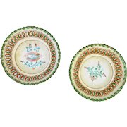 Antique Hungarian Folk Art Pottery Pair Plates 1884 Signed