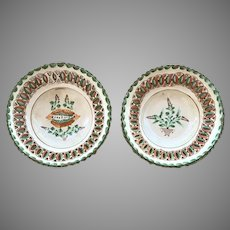 "Antique Hungarian Folk Art Pottery Pair 10"" Plates 1884"