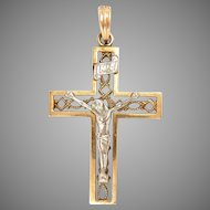"14 Kt Cross Pendant White & Yellow Gold Crucifix Vintage 1.25"" L"