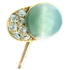 Antique Russian Stickpin 14 Kt Gold Cat's Eye Diamonds Jockey's Hat