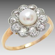 Edwardian 14 Kt Gold Ring Platinum Pearl Diamond Size 8.5