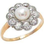 Edwardian 14 Kt Gold Ring Platinum Pearl Diamond Size 8.5
