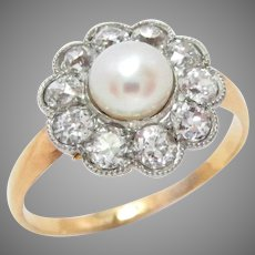 Edwardian 14 Kt Gold Ring Platinum Pearl Diamond 1 Ct Antique