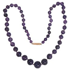 Vintage Natural Amethyst Bead Necklace 14K Gold Clasp 14.5 -6.5 mm