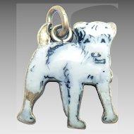 Vintage 14Kt Gold Charm Enameled Terrier Dog