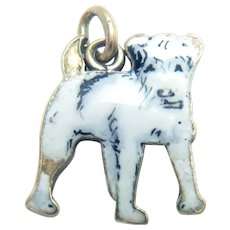 "14 Kt Gold Charm Dog White Enamel Vintage 9/16"" H"
