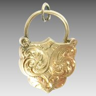 Victorian 14Kt Rose Gold Padlock Charm Clasp Shield