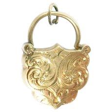 Victorian 14Kt Rose Gold Padlock Charm Clasp Shield