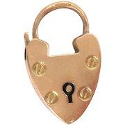 Heart 9 kt Rose Gold Padlock Clasp for Bracelet