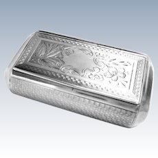 French Silver Pill Trinket Snuff Box Engine Turned Late 19th Century