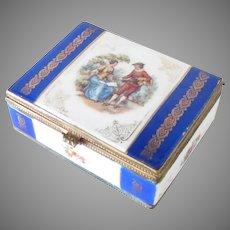 19th C Porcelain Trinket Jewelry Dresser Box Gilt Bronze Hinged Courting Scene