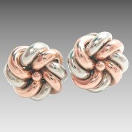Vintage Earrings 18 Kt Rose Gold Platinum Post Clips Love Knots