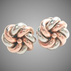 Earrings 18 Kt Rose Gold Platinum Post Clips Love Knots Vintage