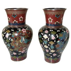 "Antique Cloisonne Vases Pair Early Meiji Period Japanese 7"" H"