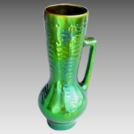 "Zsolnay Pitcher Green Eosin Large Vintage 10.5""H"