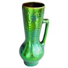 "Zsolnay Pitcher Green Eosin Large Vintage 10.5""H"