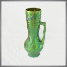 "Zsolnay Pitcher Vase Green Eosin Large Vintage 10.5""H"
