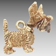 Vintage 14K Gold Charm Scottish Terrier 3D movable head